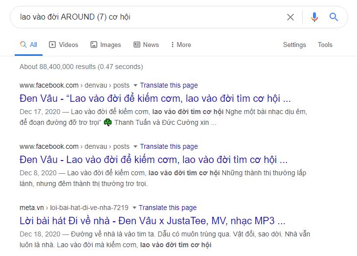 Dùng cụm từ AROUND khi quên quá nhiều từ khóa trong nội dung tìm kiếm
