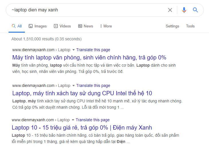 Tìm kiếm theo kết quả liên quan trên Google