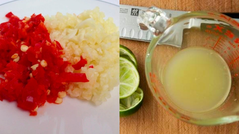 Sơ chế nguyên liệu làm nước mắm tỏi ớt