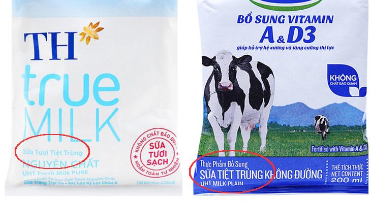 Nên phân biệt giữa sữa tươi tiệt trùng và sữa tiệt trùng