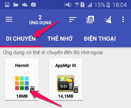 Chuyển ứng dụng qua thẻ
