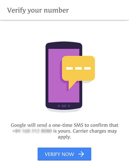 nhập đoạn mã ở tin nhắn và chọn Verify Now