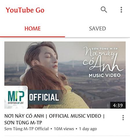 Giao diện của YouTube Go