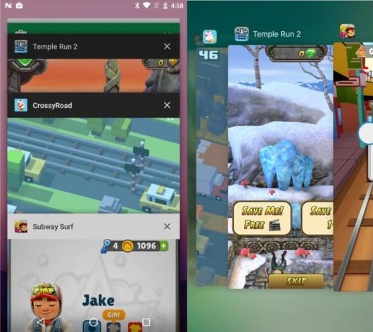 Trình đa nhiệm của Android và iOS (bên phải)