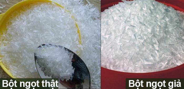 Nhận biết bột ngọt giả bằng cách quan sát hạt bột ngọt