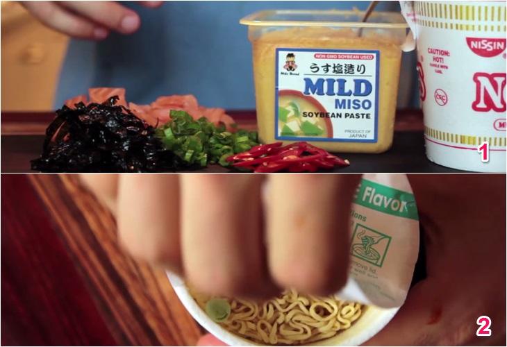 Cách làm mì cá hồi sốt miso kiểu Nhật với mì ly