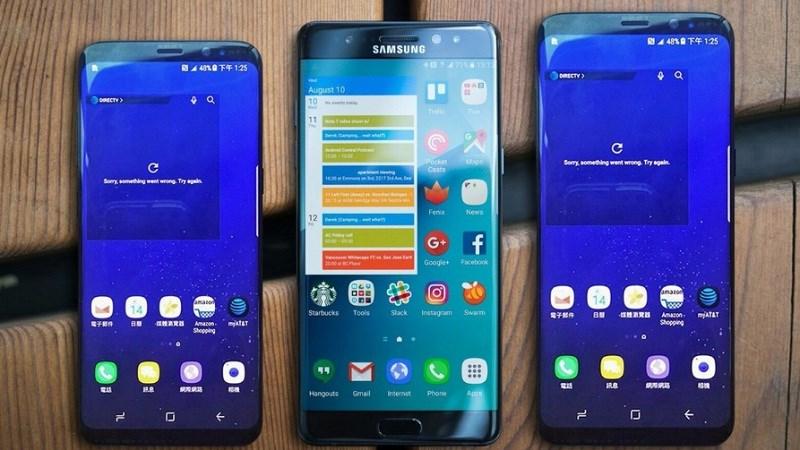 Galaxy S8, Galaxy Note 7 và Galaxy S8 Plus (Từ trái qua).