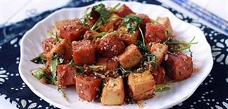 Cách làm đậu hũ xóc thịt heo hộp