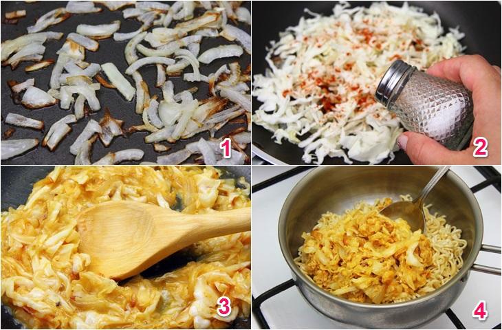 Cách làm mì tôm xào bắp cải, trứng đơn giản, ngon miệng