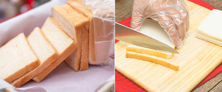 Cắt lấy viền bánh mì sandwich, sau đó cắt hạt lựu