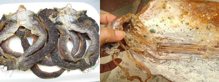 Nên ngưng dùng cá khô mua về bị ẩm mốc, đổ nhớt bề mặt
