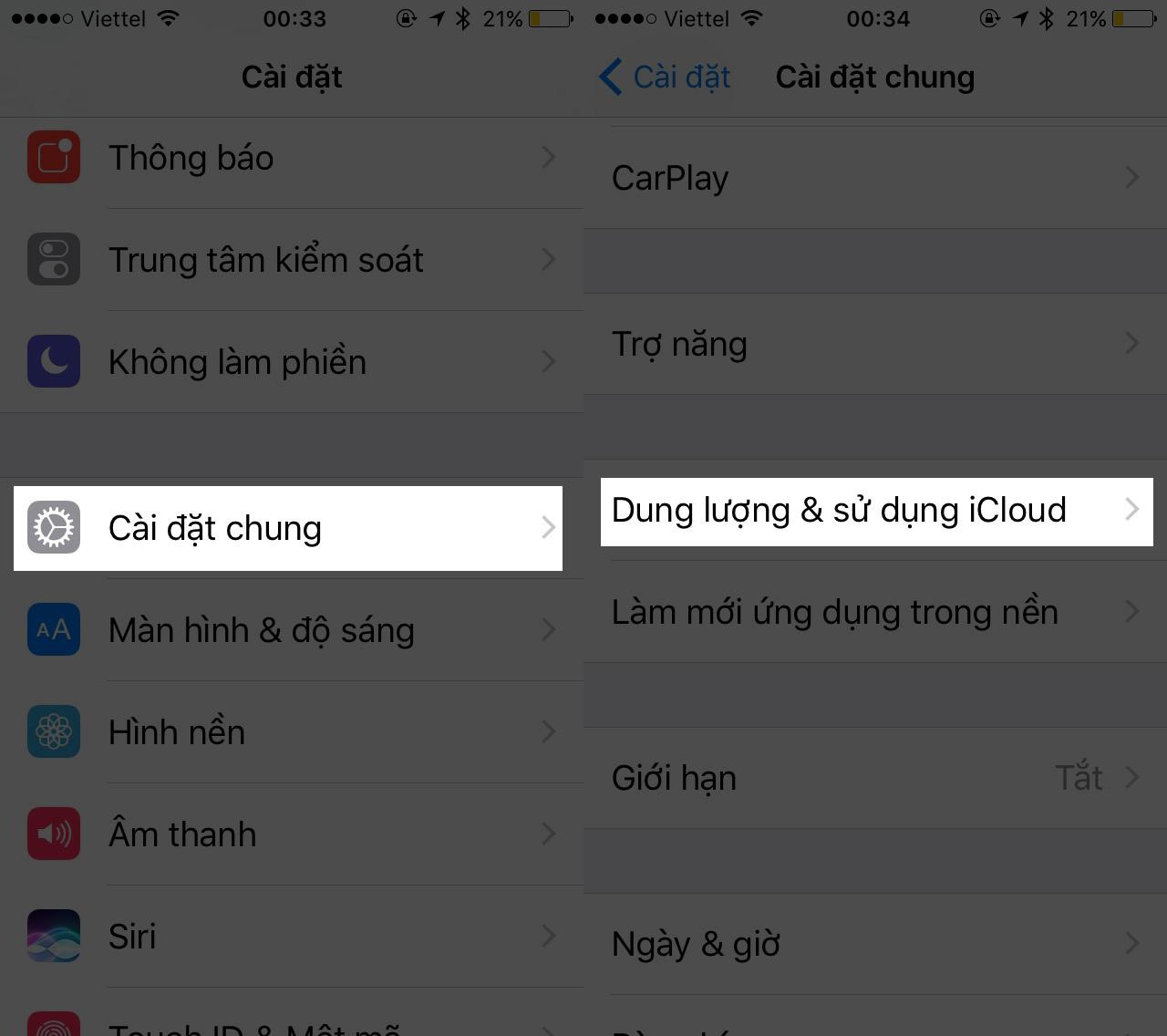 Tại mục iCloud, bạn chọn Quản lý dung lượng \u003e Thay đổi gói dung lượng để xác định đúng gói dung lượng nên dùng.