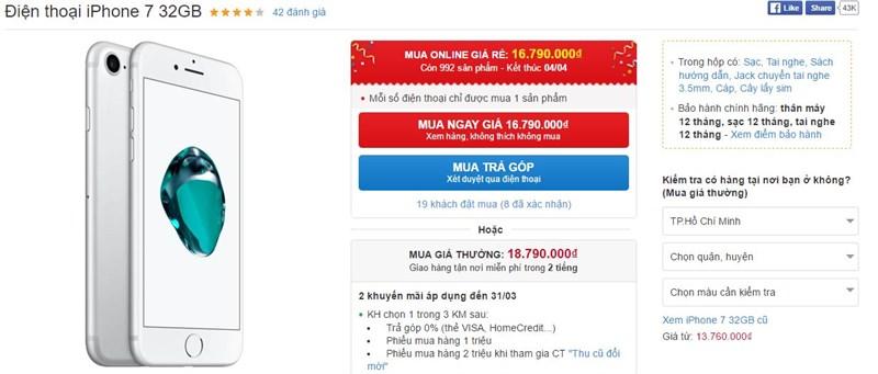 iPhone 7, 7 Plus các phiên bản giảm giá sốc hàng triệu đồng