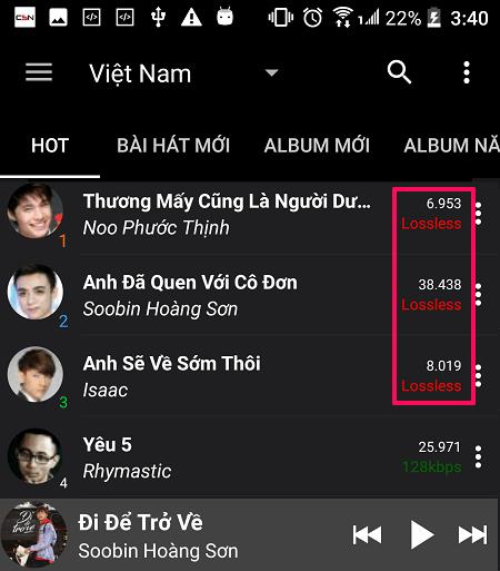 Cách tải nhạc chất lượng cao, lossless trên điện thoại Android