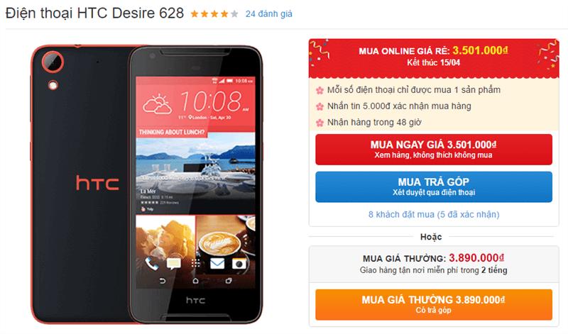 HTC Desire 628 RAM 3GB, ROM 32GB, hỗ trợ 4G giảm giá còn dưới 4 triệu