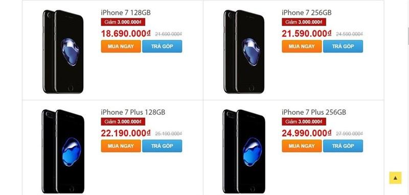 Hàng loạt iPhone 7, 7 Plus Jet Black được giảm giá sốc