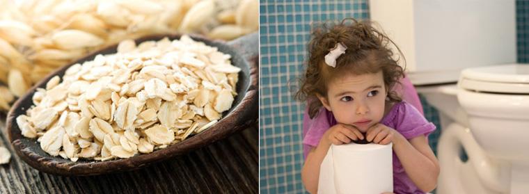Công dụng như thuốc nhuận tràng tự nhiên nên cháo yến mạch tốt cho các bé tiêu hóa kém