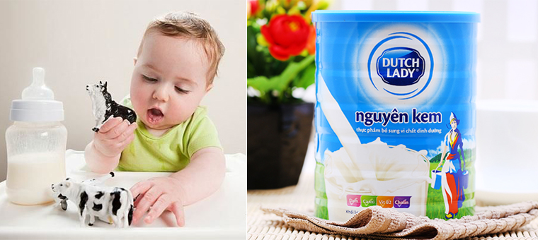 Bé dưới 1 tuổi không nên dùng sữa bột nguyên kem