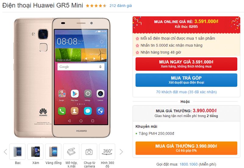Chỉ còn 1 ngày để mua Huawei GR5 Mini thiết kế đẹp, camera ngon với giá sốc
