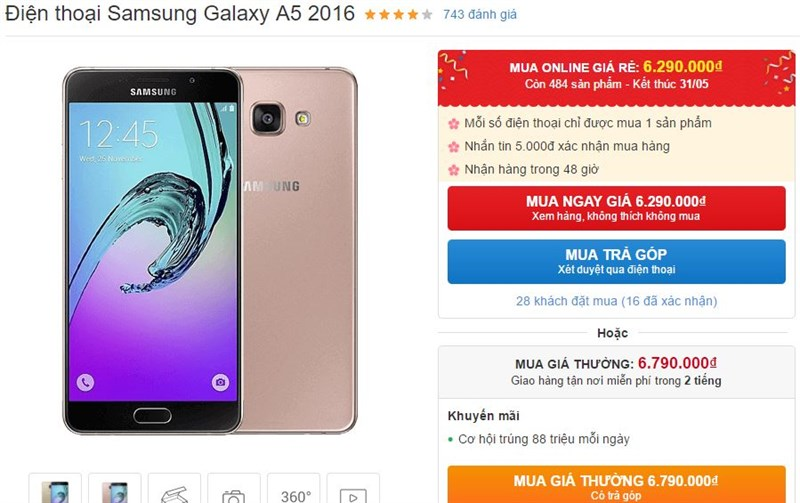 Galaxy A5 2016 với thiết kế ấn tượng tiếp tục được giảm giá