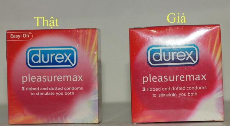 Bao cao su Durex giả có màu xấu, không sắc nét