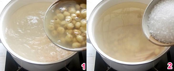 Nấu hỗn hợp hạt sen, củ năng, củ sen một lần nữa cho mềm