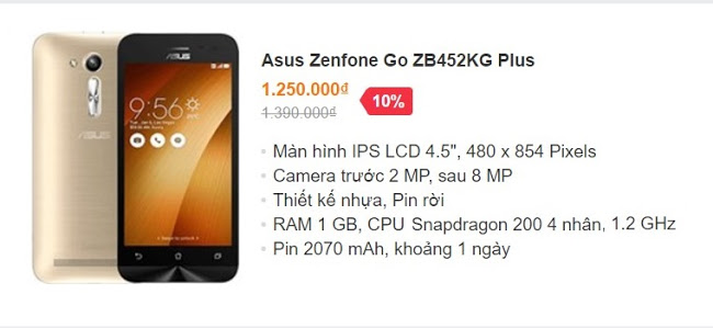 Asus Zenfone Go ZB452KG Plus – giá bán 1.25 triệu đồng