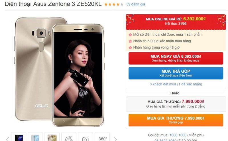 ZenFone 3 với thiết kế sang chảnh, RAM 4GB, camera 8/16MP hạ giá sốc