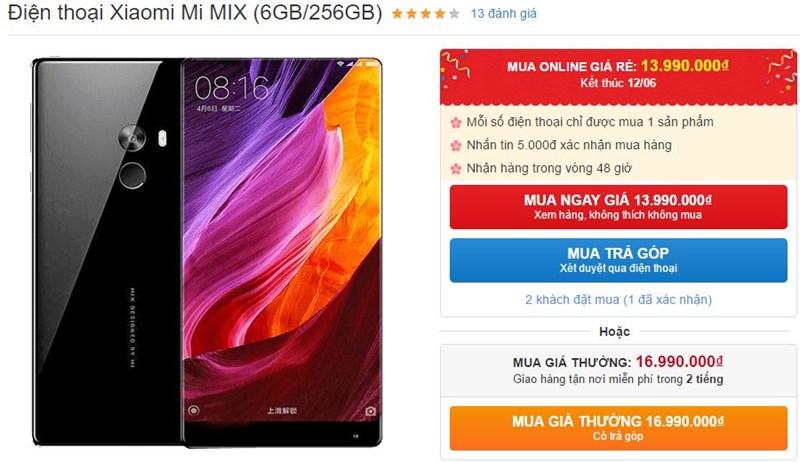 Mi MIX thiết kế không viền cực đẹp, RAM 6GB, ROM 256GB, pin 4.400 mAh giảm giá sốc tới nóc