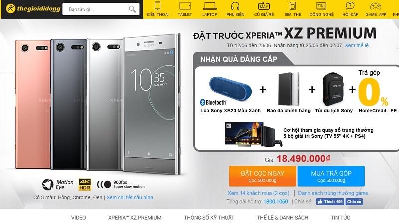 Đã có thể đặt trước Sony Xperia XZ Premium màn hình 4K, Snapdragon 835, mở khóa bằng khuôn mặt