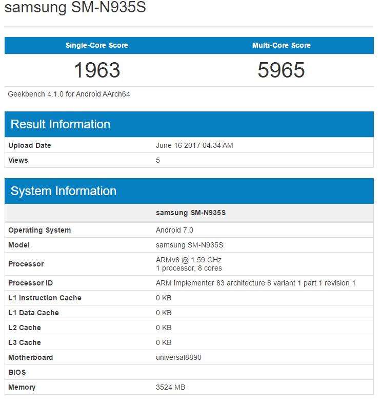 Galaxy Note 7 FE tiếp tục được thử nghiệm trên Geekbench để chuẩn bị tiến ra thị trường - ảnh 1