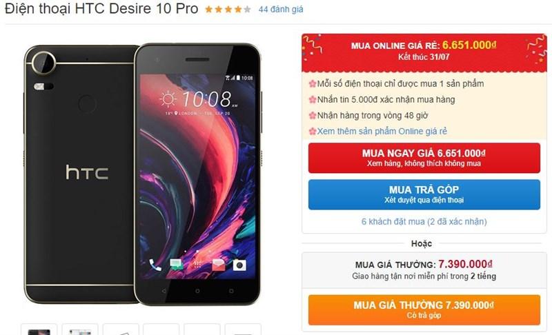 Desire 10 Pro thiết kế trẻ trung, RAM 4GB, camera 20MP hạ giá mạnh