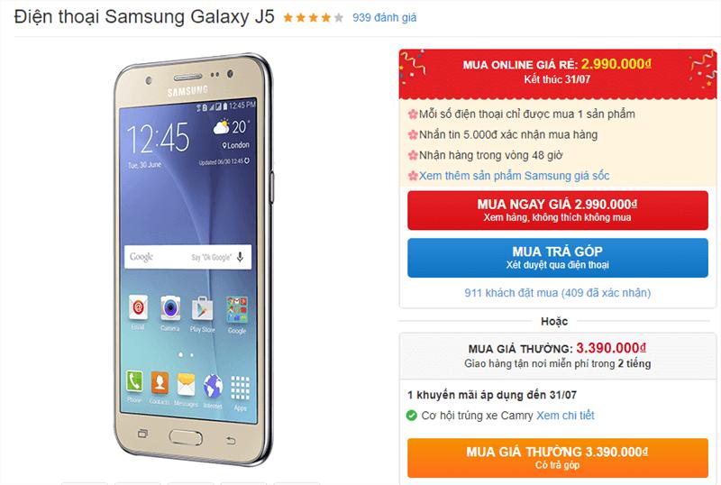 Galaxy J5 màn hình Super AMOLED, pin trâu giảm giá còn dưới 3 triệu - ảnh 1