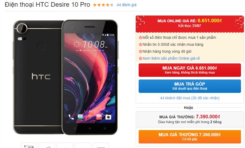 HTC Desire 10 Pro giảm giá