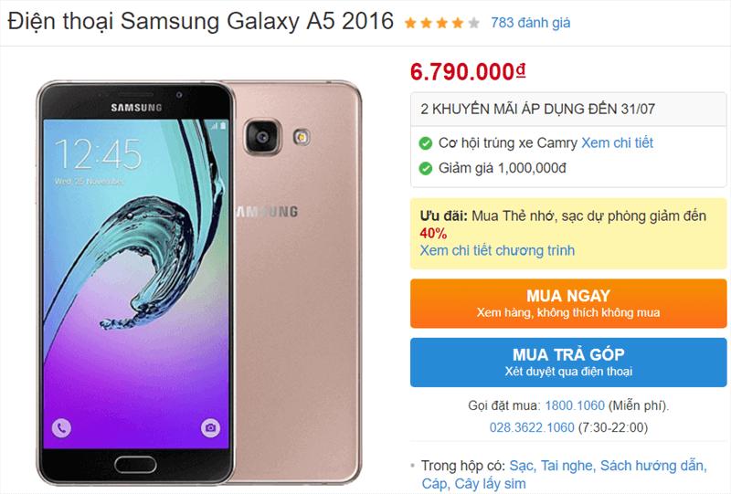 Galaxy A5 2016 giảm giá