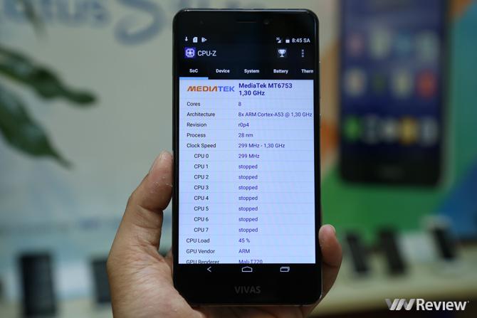 Vivas Lotus S3 LTE kiểm tra bằng CPU-Z