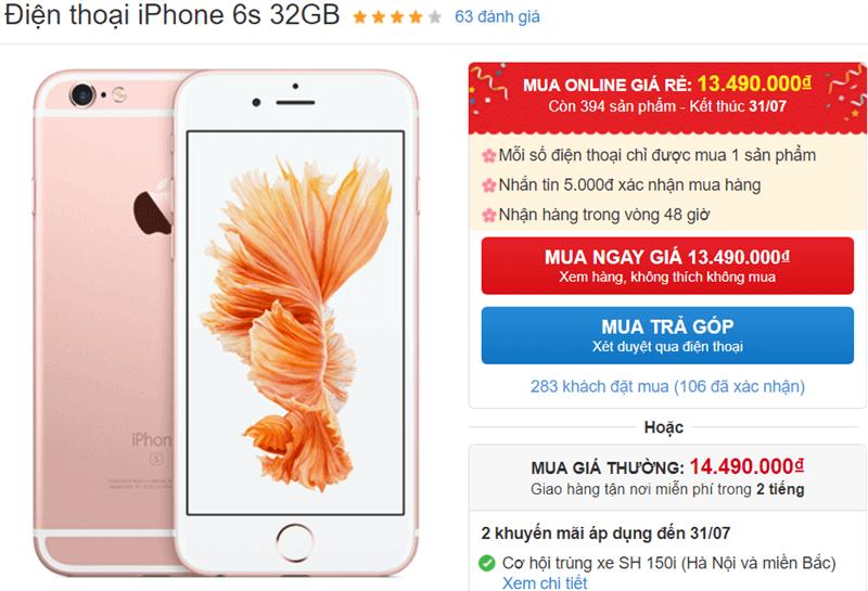 iPhone 6s 32GB giảm giá