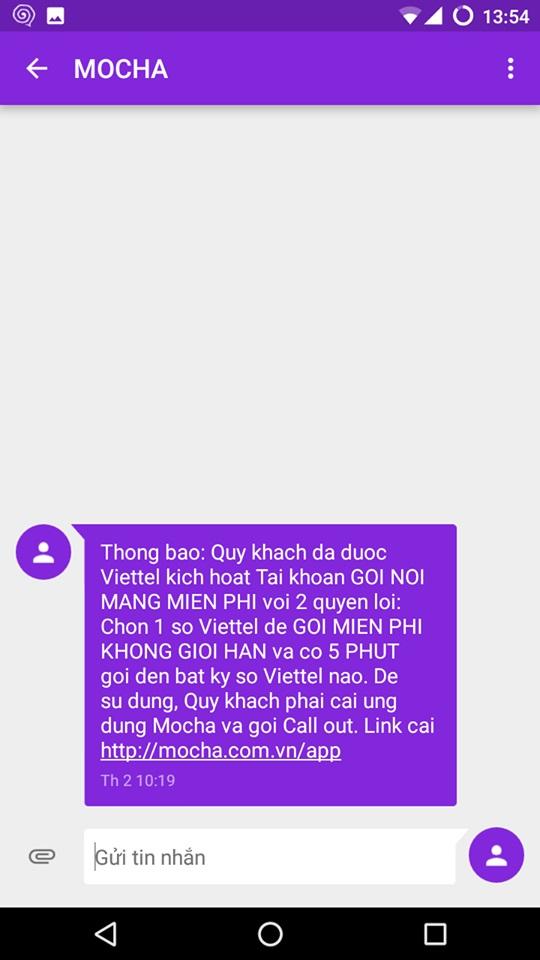 Viettel gửi tin nhắn thông báo gói ưu đãi cho thuê bao HSSV