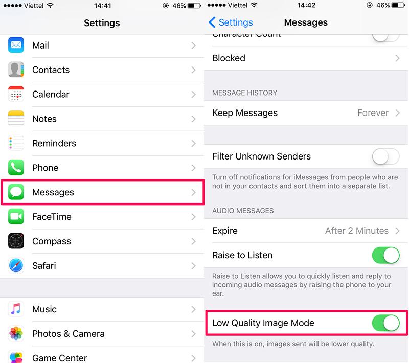 Tiết kiệm dung lượng 3G khi nhắn tin trên iMess