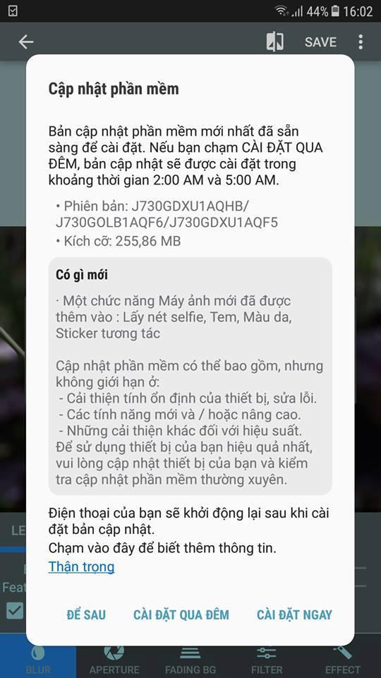 Galaxy J7 Pro cập nhật phần mềm mới: Tín đồ selfie thích mê