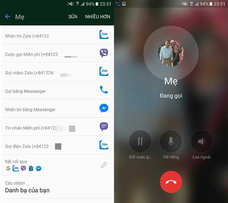 Bạn chỉ cần mở Danh bạ điện thoại, nhấn chọn Gọi điện Zalo được tích hợp trong tên liên lạc