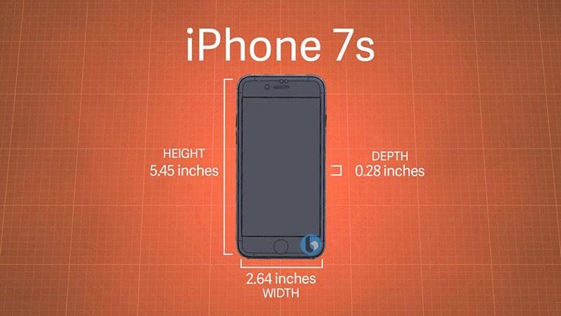 Kích cỡ iPhone 7s