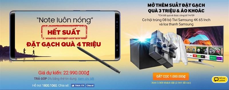 Đặt gạch siêu phẩm Galaxy Note 8, tặng bộ quà trị giá 3 triệu và áo khoác Samsung