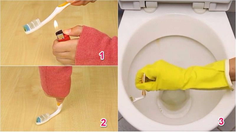 Tận dụng bàn chải đánh răng cũ để tẩy bồn cầu