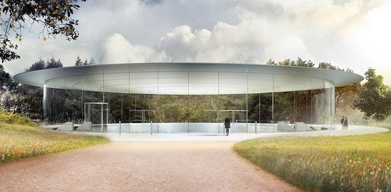 Nhà chờ bằng kính là nơi ta thấy đầu tiên của nhà hát Steve Jobs