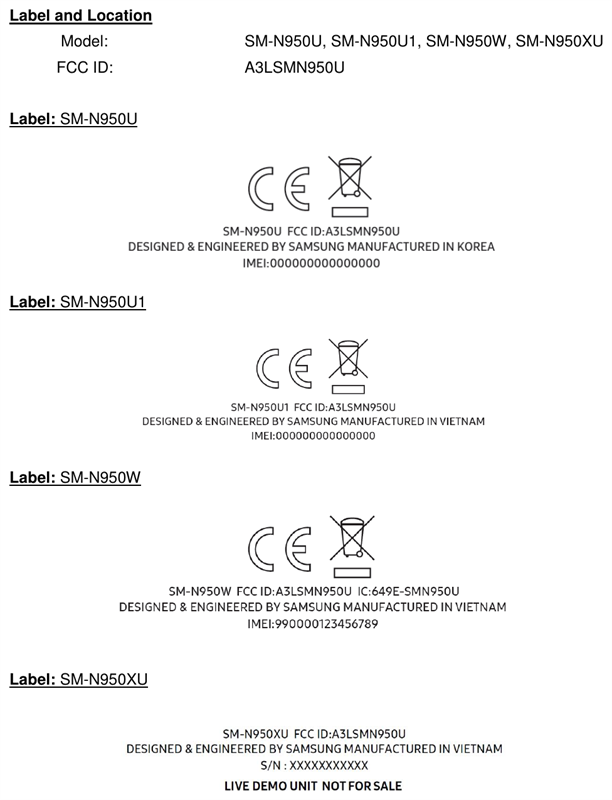 Galaxy Note 8 được FCC chứng nhận