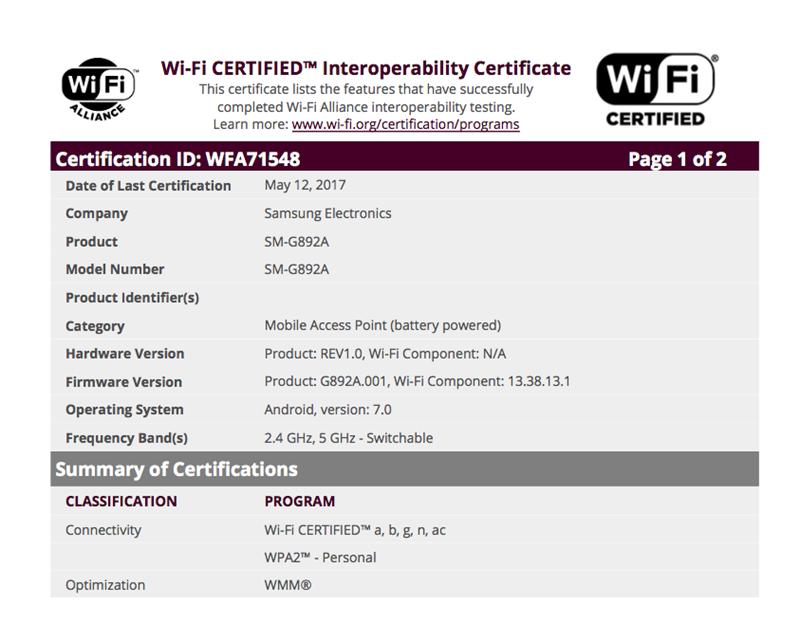 Galaxy S8 Active đạt chứng nhận của Wi-Fi Alliance