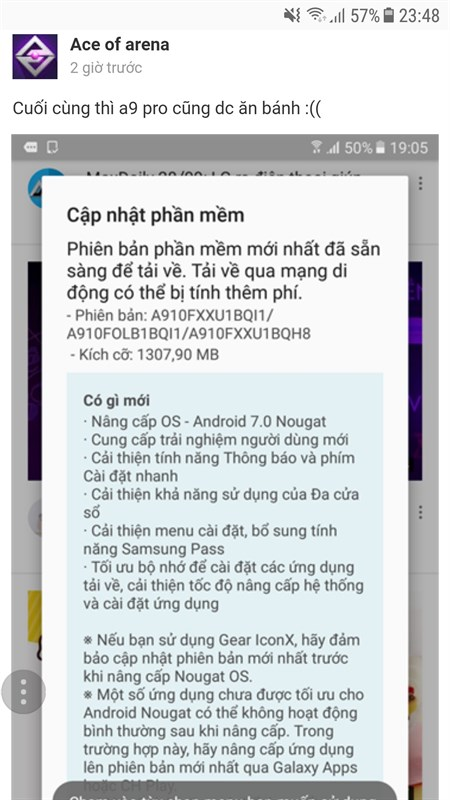 Galaxy A9 Pro chính hãng Việt Nam được cập nhật Android 7.0 Nougat