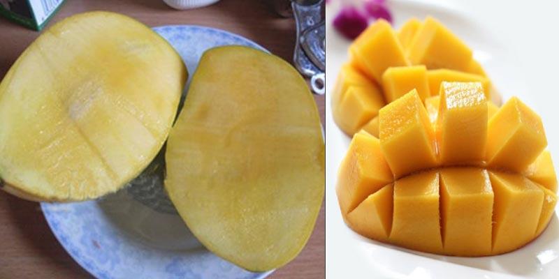 Bạn cần rửa sạch xoài, cắt phần bên má quả xoài sát với phần hạt.