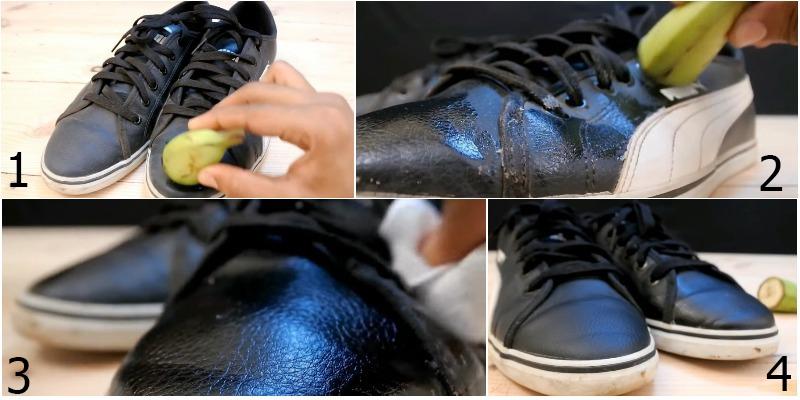 Ngoài tác dụng làm sạch bụi bẩn, chuối và vỏ chuối còn giúp đánh bóng cho giày da sáng bóng hơn.